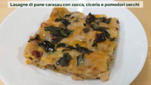 Lasagne di pane carasau con zucca, cicoria e pomodori secchi-01